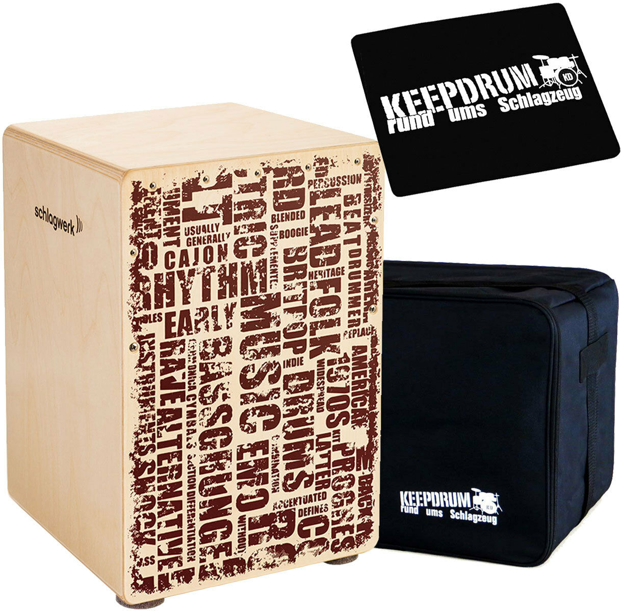 Schlagwerk CP119 X-One Styles Cajon Medium + keepdrum Gig Bag + Pad CP-01