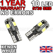 2 X XENON WHITE 10 SMD 501 W5W T10 CANBUS ERROR FREE LED SIDELIGHT BULBS 6000K