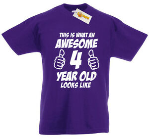 Image Is Loading Awesome 4 Year Old T Shirt 4th Birthday