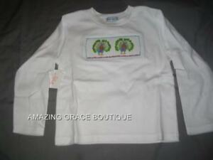 Girls-Smocked-LS-Tee-T-shirt-3T-PEACOCKS-NWT-Vive-La-Fete-NEW-Long-Sleeve-NEW