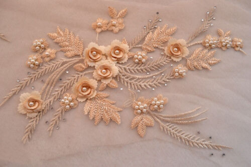 11 Colours Pearl Bridal Lace Applique Embroidery Corded Wedding Dress Motif 1 PC