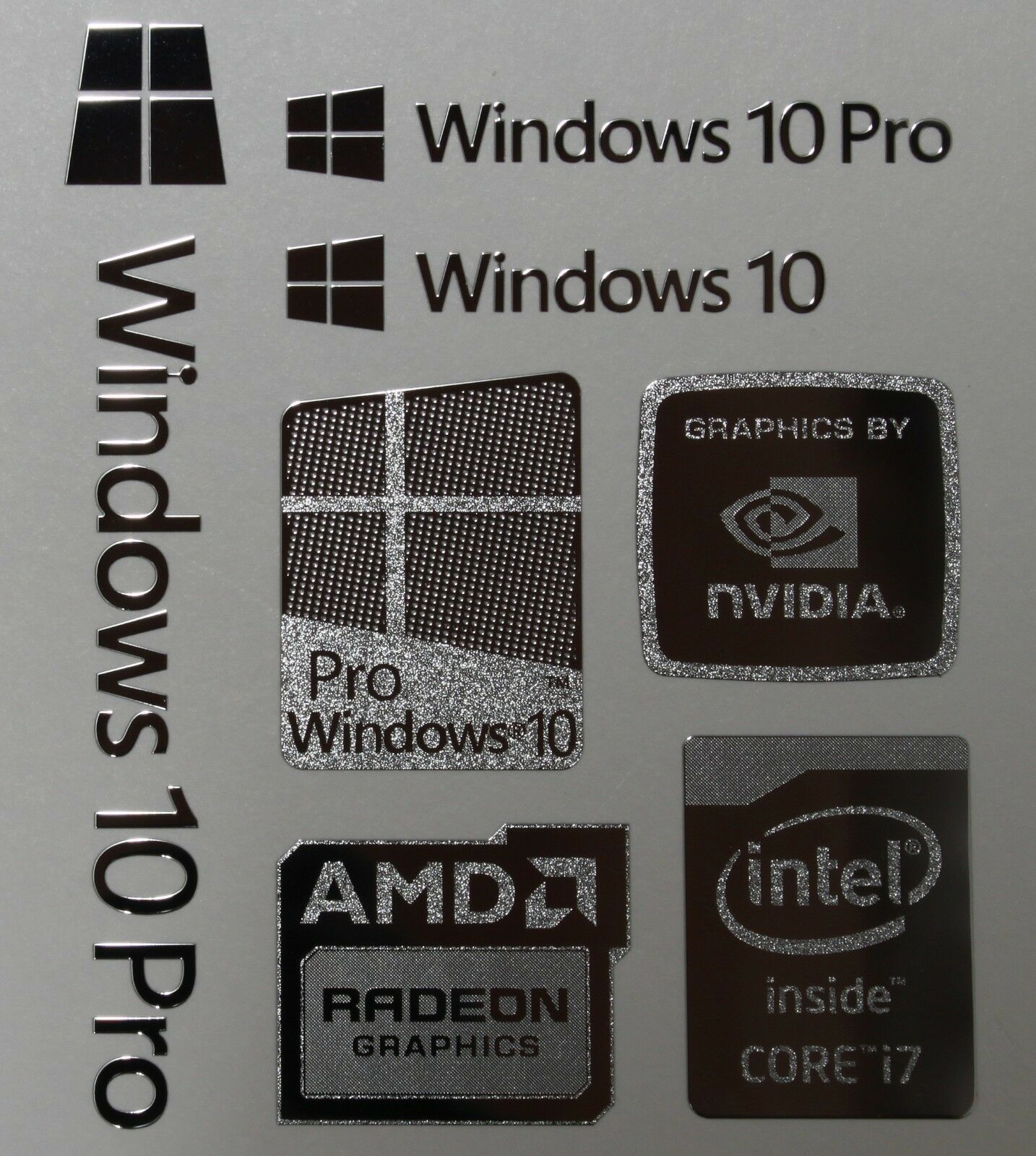 windows 10 pro combo badge metal sticker pc laptop intel. Black Bedroom Furniture Sets. Home Design Ideas