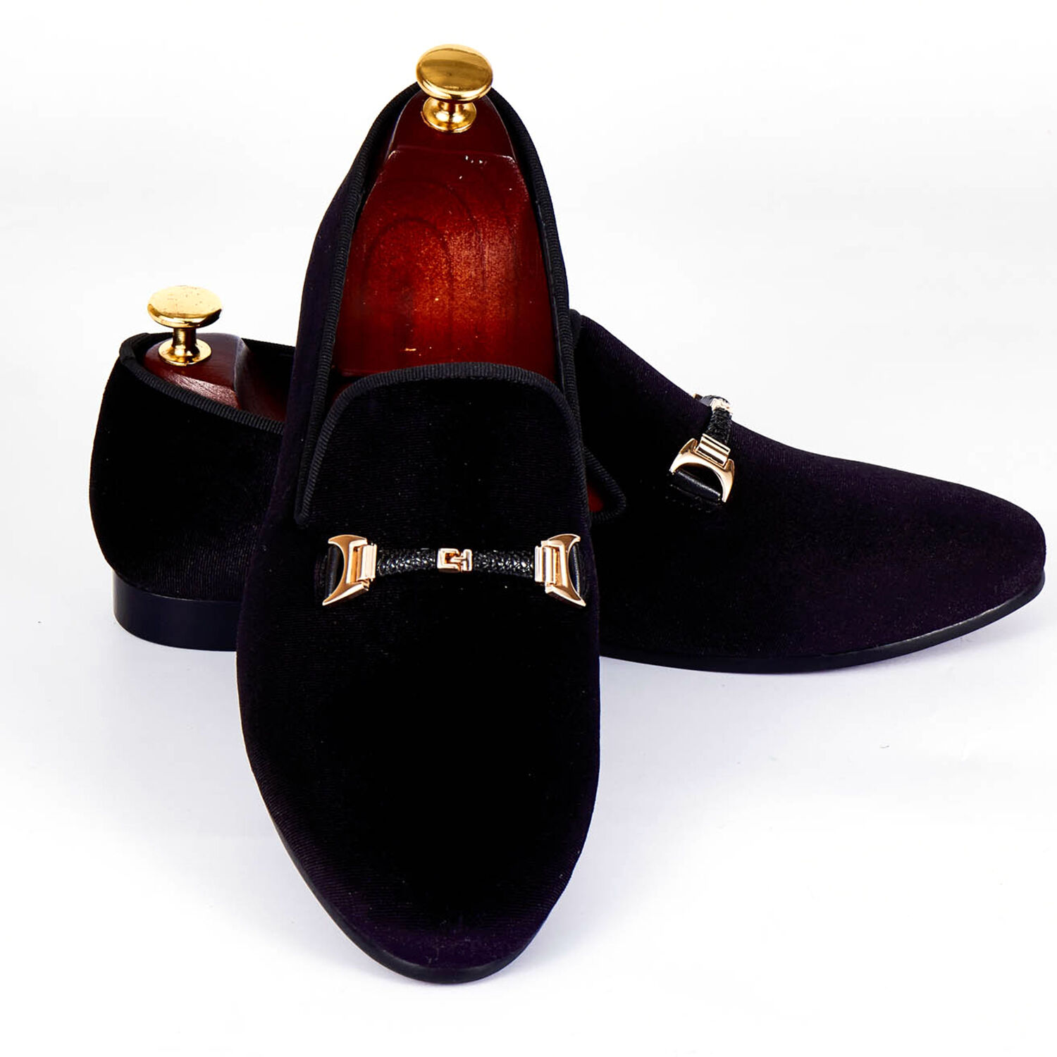 Harpelunde Men Buckle Dress Shoes Black Velvet Loafer Slippers Size 6-14