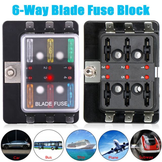 Fuse Box 6 Way Universal Car Boat Bus 12v Automotive Holder Blade Wiring Block