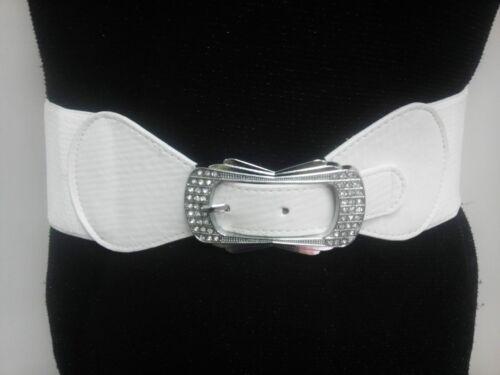 Thin Women Elastic White Belt With Unique Rhinestones Buckle Sizes S M L