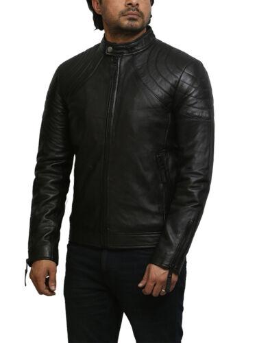Brandslock Mens Genuine Leather Biker Jacket Vintage Bomber