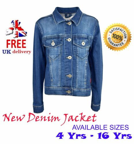 fit to boys//girls . Kids Jacket 3 to 16 in Denim Style Fashion Coat New/>Age