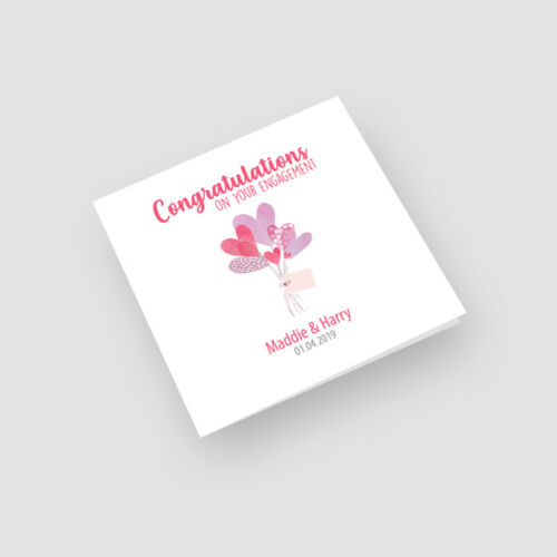 Newly Engaged Personalised Handmade Heart Balloons Engagement Card For Them