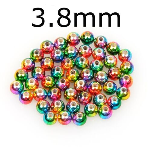 50//100PC Fly Tying Beads Tungsten Fast Sink Rainbow Fly Beads Nymph Head Ball