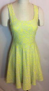 NWT-74-Stitchfix-41-Hawthorn-Fit-and-Flare-Dress-Yellow-Gray-Medium-fits-4-6