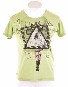 Lee-grafico-de-hombre-T-Shirt-Top-Algodon-Verde-Pequeno-JM10