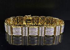 "Mens Simulated Designer Iced Bracelet In Gold Finish Over Brass 8.5""  15MM"