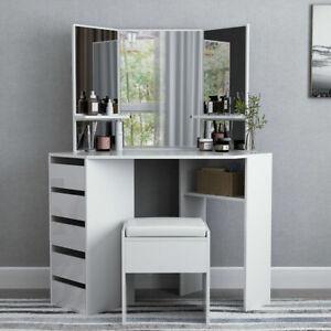 Coiffeuse-Angle-Table-de-Toilette-Maquillage-Miroir-5-Tiroirs-Etageres-Tabouret