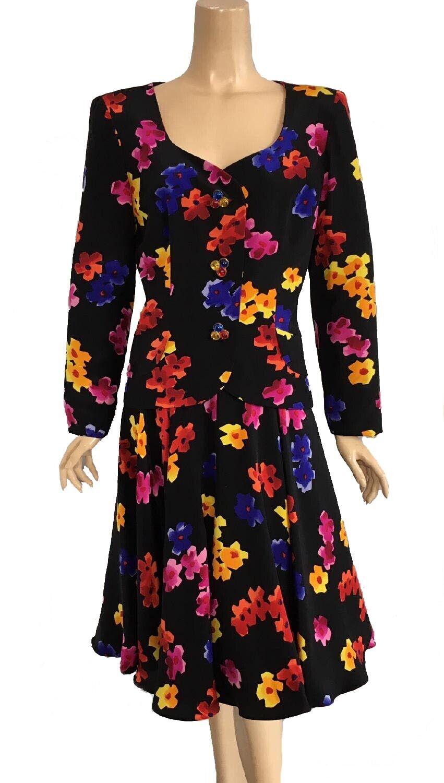 Vintage Arnold Scaasi Black Multi Colored Floral … - image 1