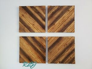 Details About Decorative Rustic Set 4 Natural Wood Wall Art Panels Plaques Log Cabin Lodge