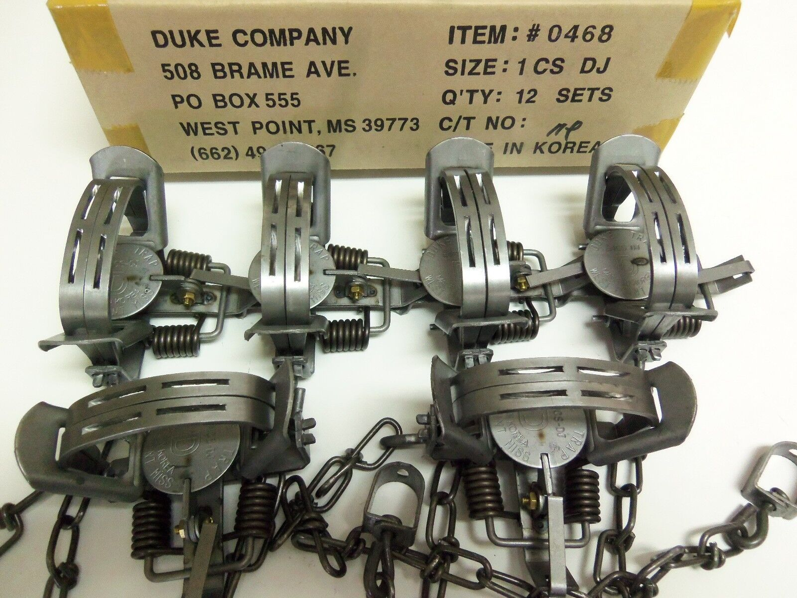 6  Duke  1 Double Jaw Coil Spring Traps Mink Nutria Muskrat (1/2 Dz.) 0468
