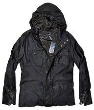 EMPORIO ARMANI Leather Hooded Parka Jacket, Black MED 48 IT $1650