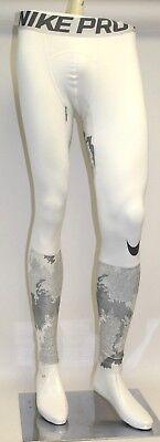 Mens Nike Pro  Hyperwarm Printed Training Tights 801986-100 White//Gray NEW Sz M