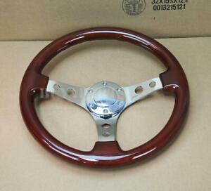 14-034-Classic-Wood-Grain-Grip-Mirror-Chrome-Staineless-Steel-Spoke-Steering-Wheel