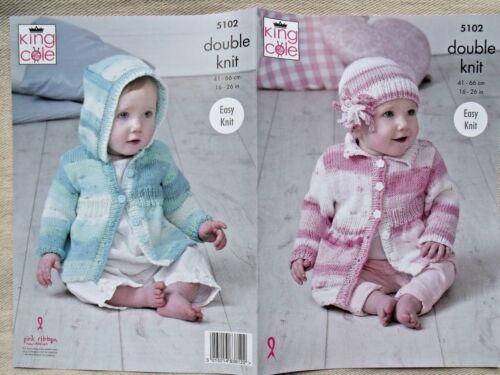 King Cole 5621 bebés Suéter Chaqueta Sombrero /& Manta Gruesa Tejer patrón
