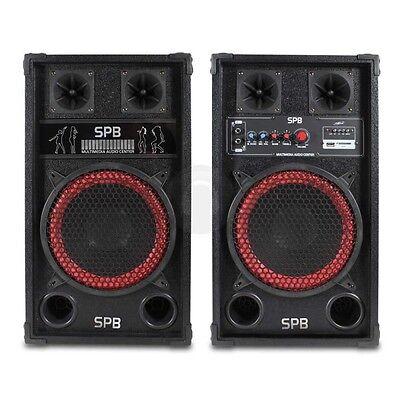 """COPPIA CASSE AMPLIFICATE ATTIVE 600W 10"""" karaoke USB-SD-ECHO diffusori NUOVE"""