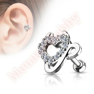 b4c497d015fcf Details about 16G CZ Devil Love Heart Cartilage Tragus Barbell Ear Ring Bar  Body Jewellery
