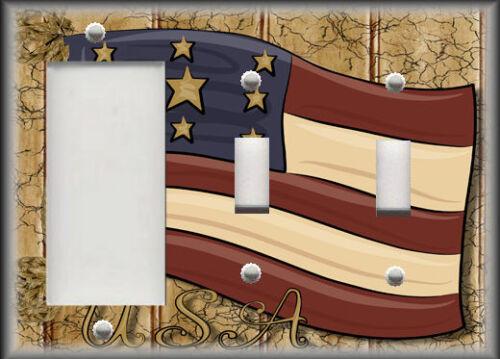 Americana Home Decor Country Decor USA Flag Metal Light Switch Plate Cover