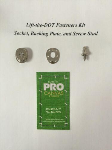 "Backing Plate /& Screw Stud 3//8/"" 20 sets Lift The Dot Fasteners Kit S.S Socket"