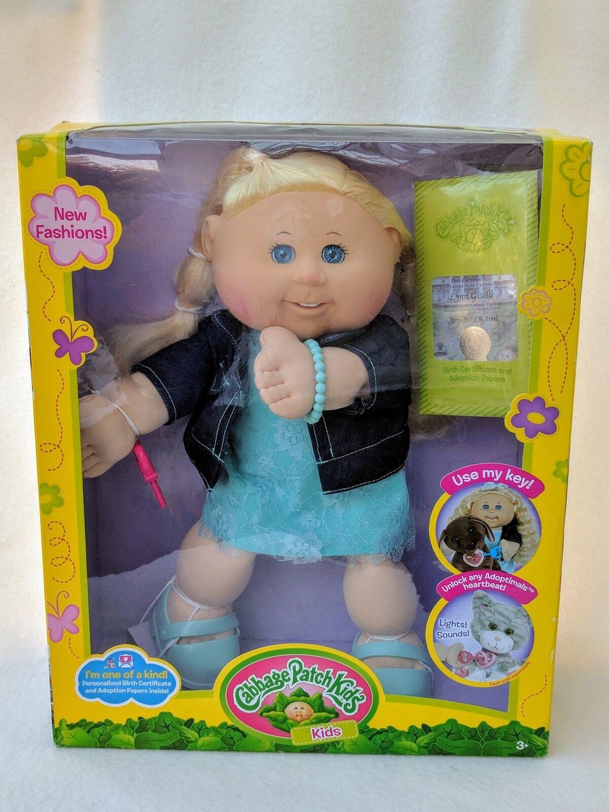 NUOVO Cabbage Patch Kid Bambola Lynn Giselle abito blu lunghi capelli biondi 9th APRILE