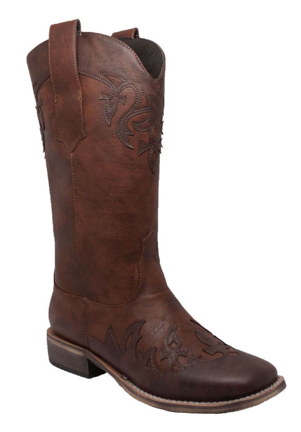 NEW Womens AdTec Cowboy Western Work Boot Riding Casual Dress Boot Brown 8612