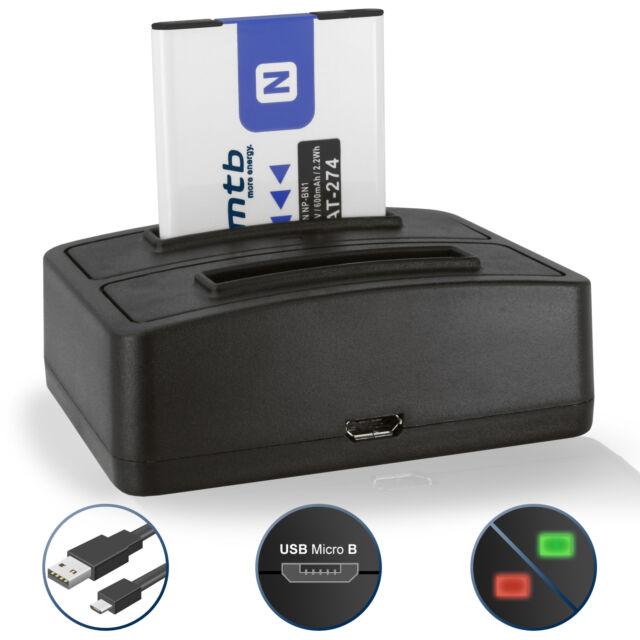 Bateria + Cargador doble NP-BN1 para Sony Cyber-shot DSC-WX70, WX200