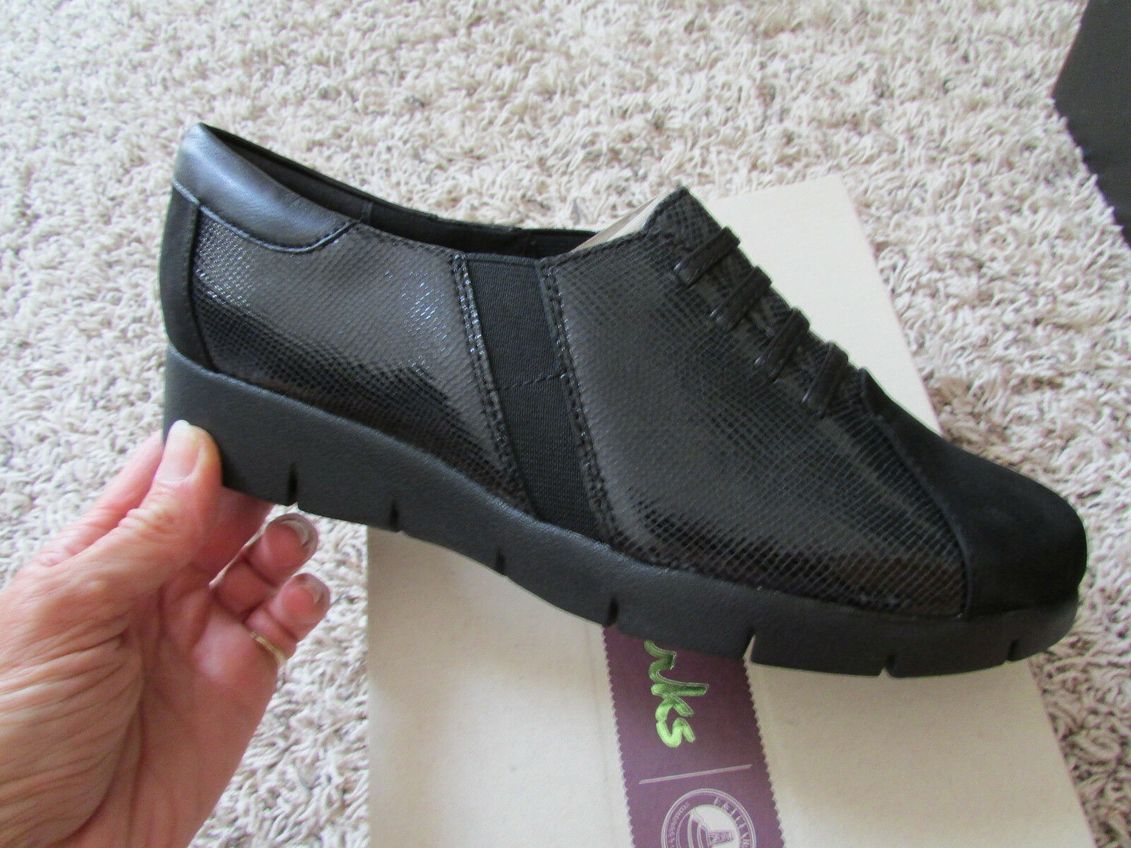 NEW CLARKS DAELYN VISTA BLACK LEATHER Schuhe Damenschuhe 7 COMFORT Schuhe FREE SHIP