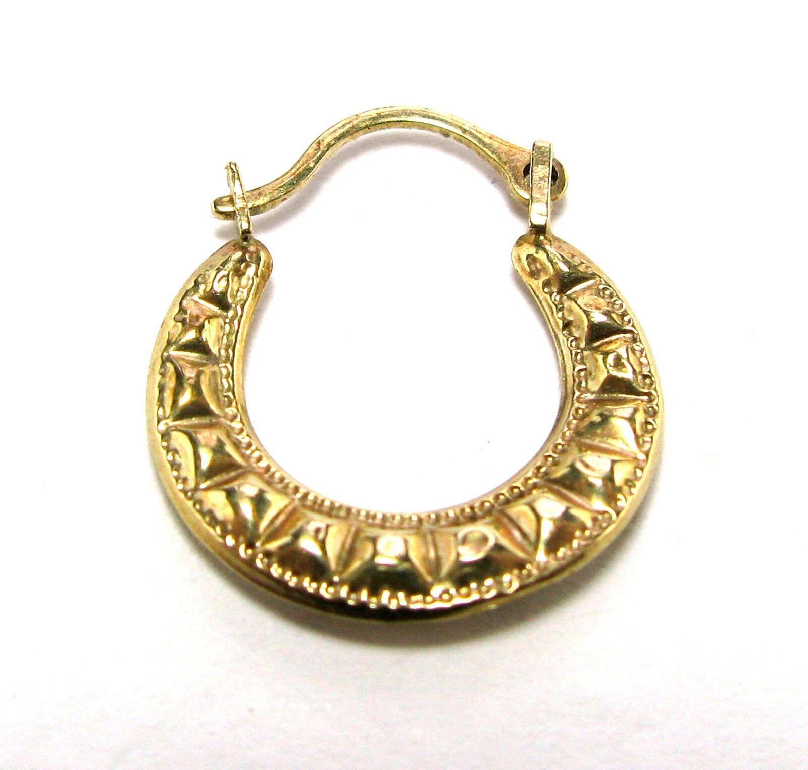Single Hoop Earring 10K yellow gold 17 mm tall