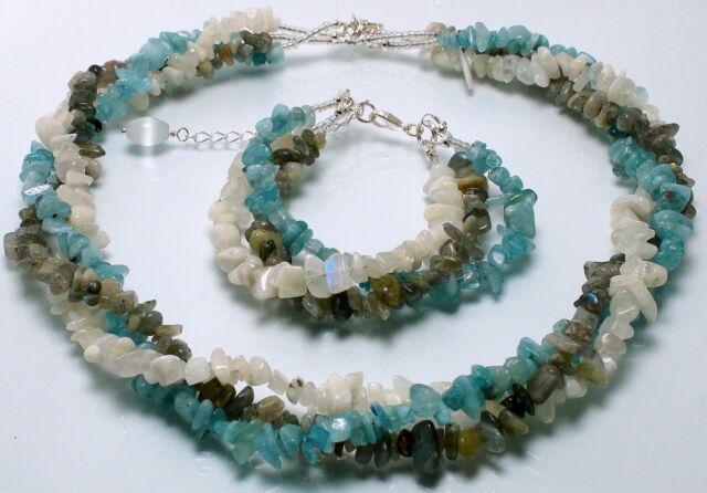 Labradorite, Moonstone & Aquamarine Necklace & Bracelet Set - Hand Made