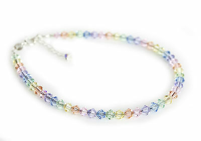 .925 Sterling Silver Crystals Pastel Rainbow Anklet made with SWAROVSKI ELEMENTS