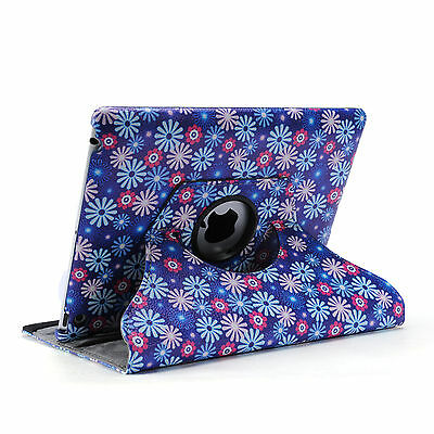 Lavender 360 Rotating Flower Pu Leather Smart Cover Case for Apple iPad 4 3 2