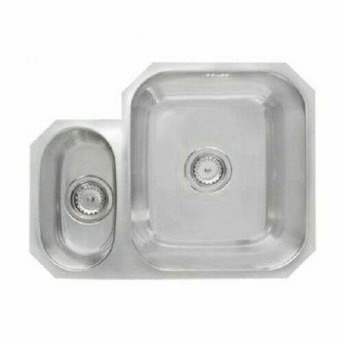 1.5 Bowl Stainless Steel Undermount Kitchen Sink Right Hand 46 x 59cm 215
