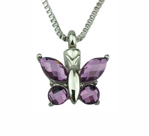 Cremation Jewellery Engraving Butterfly Urn Pendant Memorial Ash Keepsake