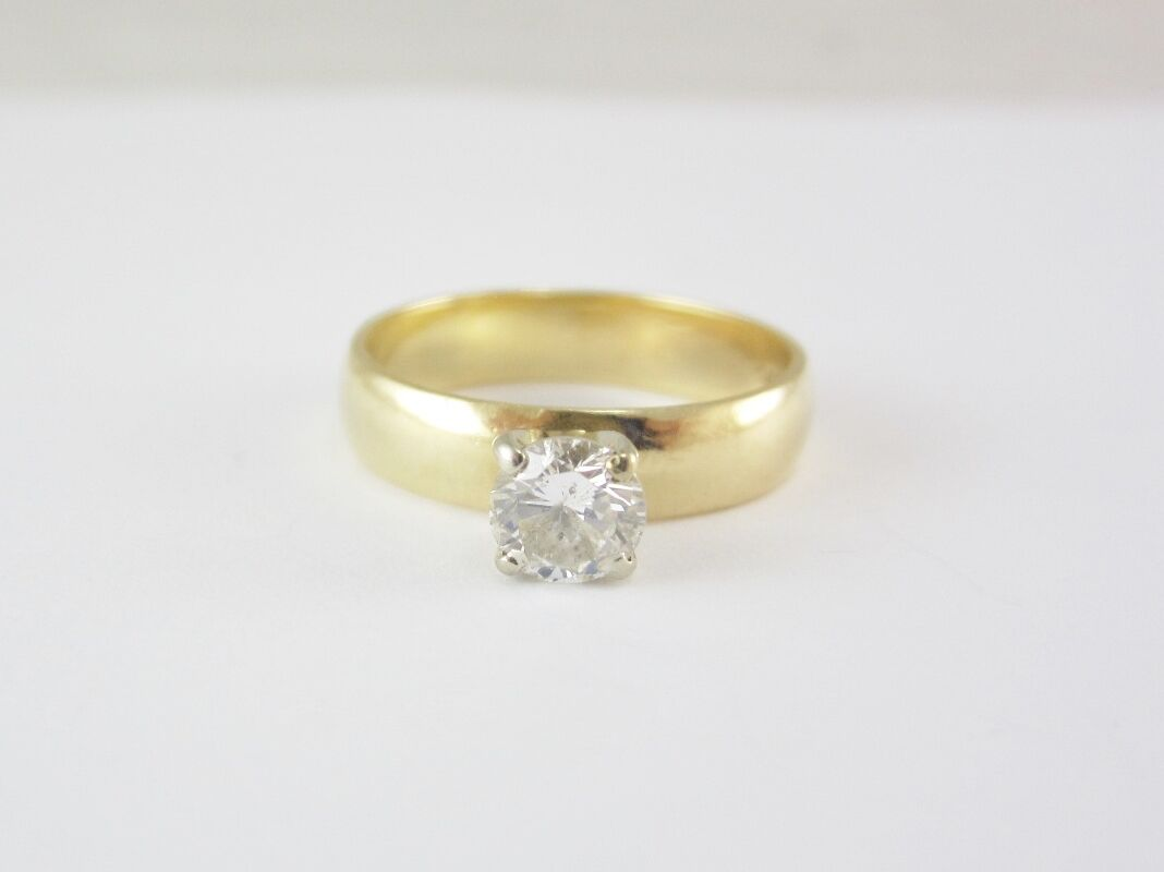 BEAUTIFUL LADIES 14K YELLOW gold 0.50CT DIAMOND SOLITAIRE ENGAGEMENT RING 3.8G