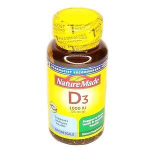 Nature Made Vitamin D3 Softgels 1000 Iu 25 Mcg 100 Count Exp 10 2022 Ebay