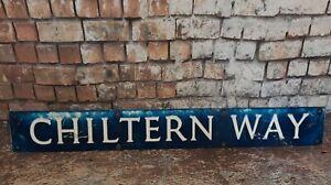 Vintage-Old-Industrial-Pressed-Metal-English-Street-Road-Name-Sign-Chiltern-Way