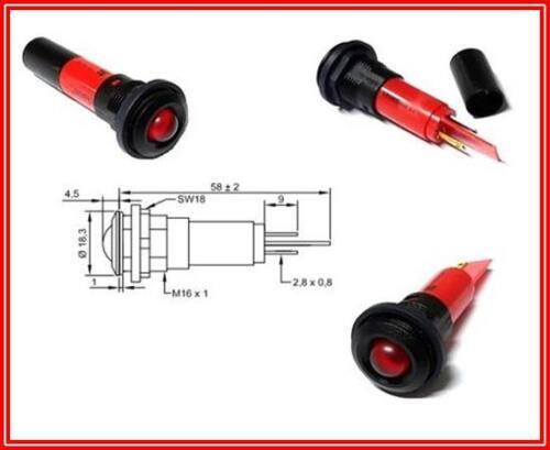 Rote 10mm LED Signalleuchte in Kunststofffassung IP67 230VAC 3mA 300mcd 1 Stück
