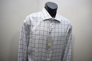 41630-New-Mens-IKE-BEHAR-Designer-Plaid-Long-Sleeve-Dress-Shirt-Size-2XL-XXL