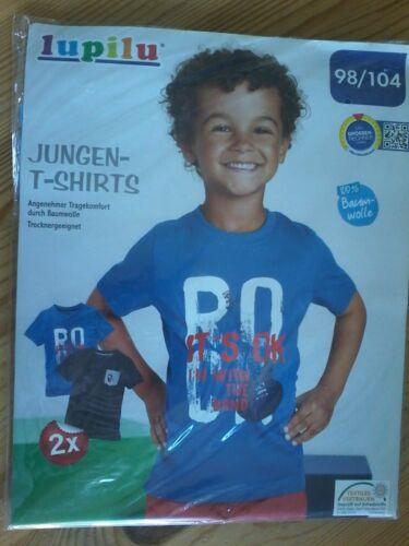 2 LUPILU Enfants Jeunes T-shirts shirt NOUVEAU//Neuf dans sa boîte taille 98//104