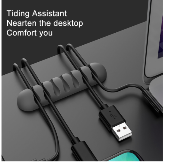 USB Cable 7 Clips Self Adhesive Desk Cord Management Organizer Wire Holder