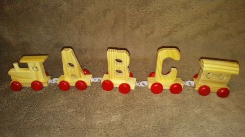 Boys Toy Wood Name Train Set Gift any 3 Letters Numbers Wooden Engine & Carriage