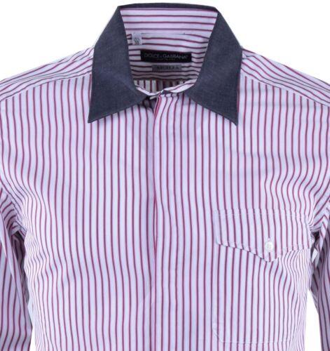 DOLCE /& GABBANA SICILIA Gestreiftes Hemd Rot Weiß Striped Shirt Red White 03695