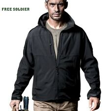 FREE SOLDIER Coat Jacket Water Proof Hiking Camping Outdoors Many Pockets Black