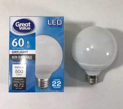GV 60W Daylight G25 Globe LED Energy Star Bulb 4-Pack Non Dimmable 6W Actual