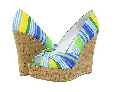 Nine West Chillpill Green Yellow Blue Striped Platform Wedge Peep Toe Sandal 8.5